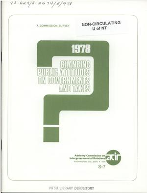 Primary view of object titled 'Changing public attitudes on governments and taxes, 1978'.