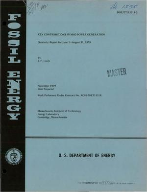 Primary view of Key contributions in MHD power generation. Quarterly report, 1 June 1979-31 August 1979