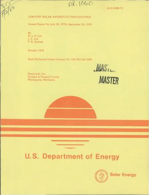 Primary view of Low-cost solar antireflection coatings. Annual report, 24 July 1978-24 September 1979