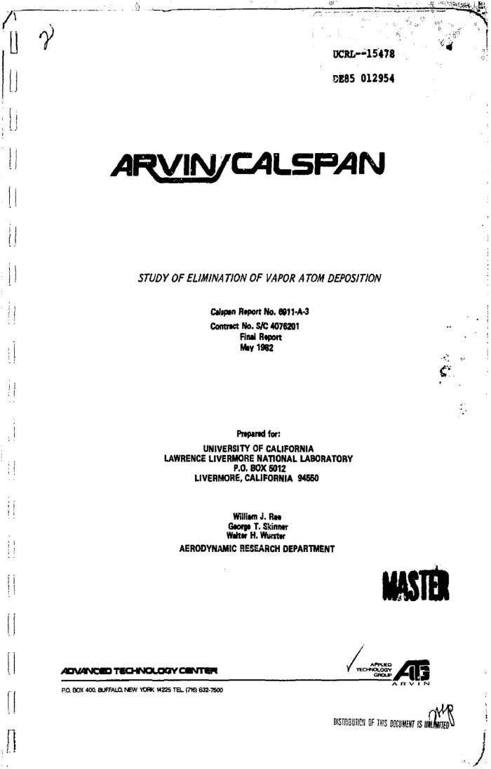 Study No Downside To Eliminating >> Study Of Elimination Of Vapor Atom Deposition Final Report