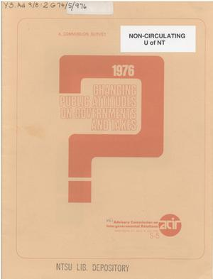 Primary view of object titled 'Changing public attitudes on governments and taxes, 1976'.