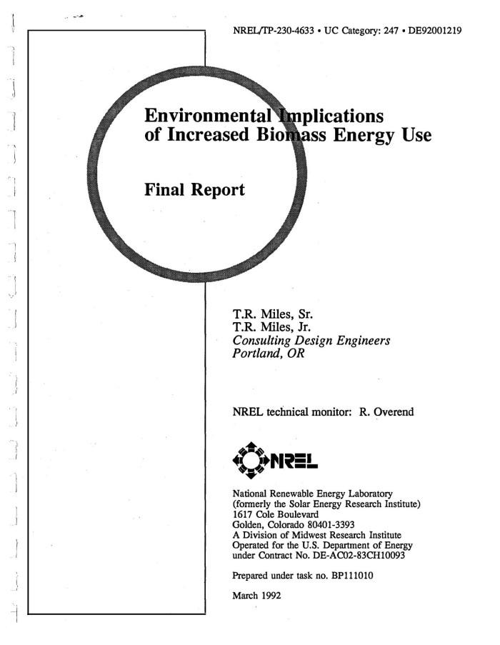 Environmental implications of increased biomass energy use
