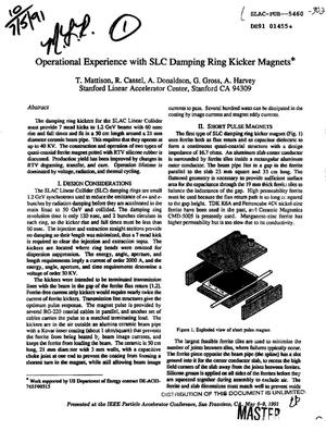 Primary view of Operational experience with SLC damping ring kicker magnets