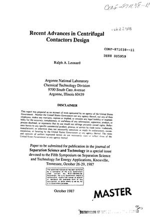 Primary view of object titled 'Recent advances in centrifugal contactors design'.