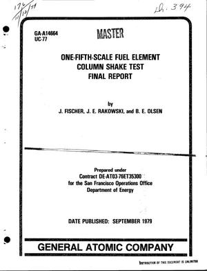 Primary view of object titled 'One-fifth-scale fuel element column shake test. Final report. [HTGR]'.