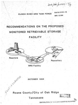 Primary view of object titled 'Recommendations on the proposed Monitored Retrievable Storage Facility'.