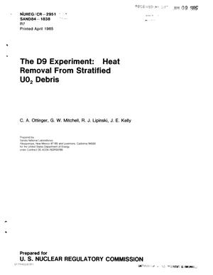 Primary view of object titled 'D9 experiment: heat removal from stratified UO/sub 2/ debris'.