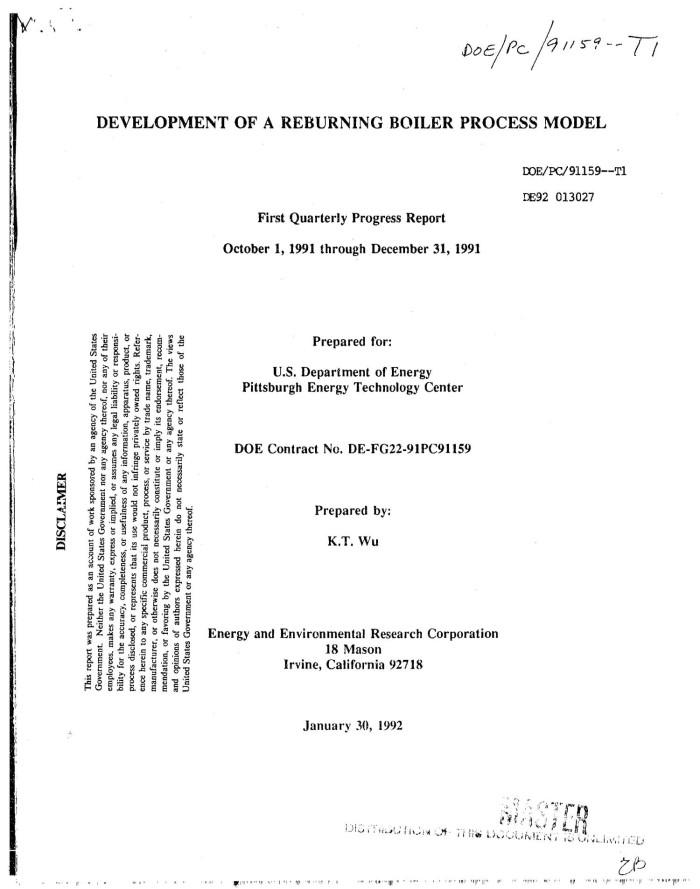 Development of a reburning boiler process model - Digital Library