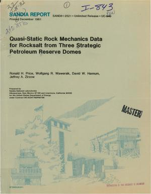 Primary view of object titled 'Quasi-static rock mechanics data for rocksalt from three Strategic Petroleum Reserve domes'.