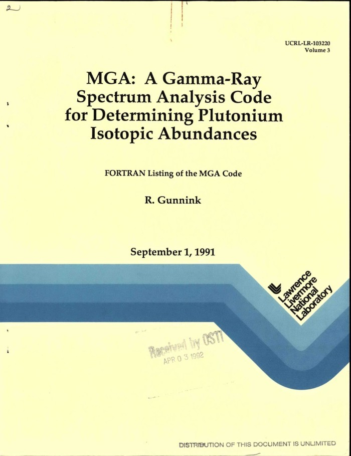 MGA: A gamma-ray spectrum analysis code for determining plutonium