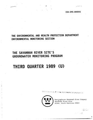 Primary view of object titled 'The Savannah River Site's Groundwater Monitoring Program, third quarter 1989'.