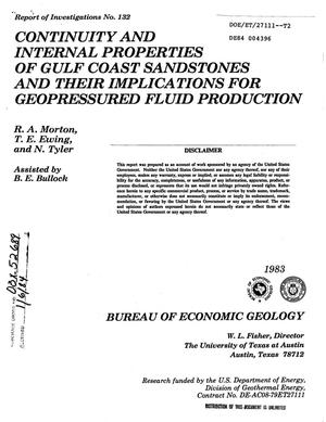 Primary view of Continuity and internal properties of Gulf Coast sandstones and their implications for geopressured fluid production