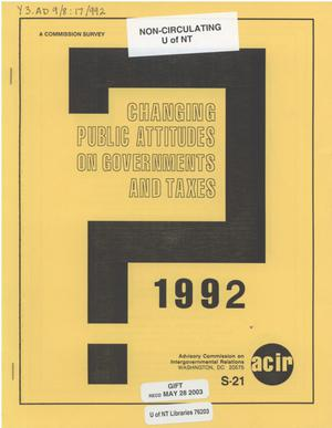 Primary view of object titled 'Changing public attitudes on governments and taxes, 1992'.
