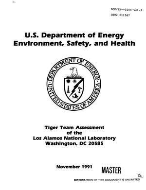 Primary view of object titled 'Tiger Team Assessment of the Los Alamos National Laboratory'.