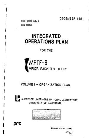 Primary view of object titled 'Integrated operations plan for the MFTF-B Mirror Fusion Test Facility. Volume I. Organization plan'.