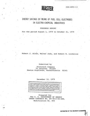 Primary view of object titled 'Energy savings by means of fuel cell electrodes in electro-chemical industries. Progress report, August 1, 1979-October 31, 1979'.