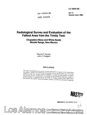 Primary view of object titled 'Radiological survey and evaluation of the fallout area from the Trinity test: Chupadera Mesa and White Sands Missile Range, New Mexico'.