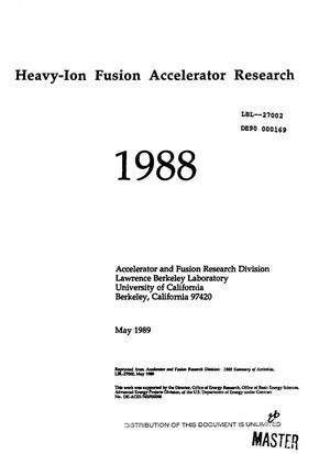 Primary view of object titled 'Heavy-ion fusion accelerator research, 1988'.