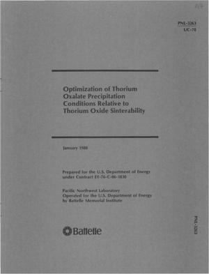 Primary view of object titled 'Optimization of thorium oxalate precipitation conditions relative to thorium oxide sinterability'.
