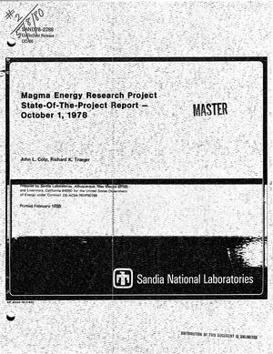 Primary view of object titled 'Magma energy research project: state-of-the-project report, October 1, 1978'.