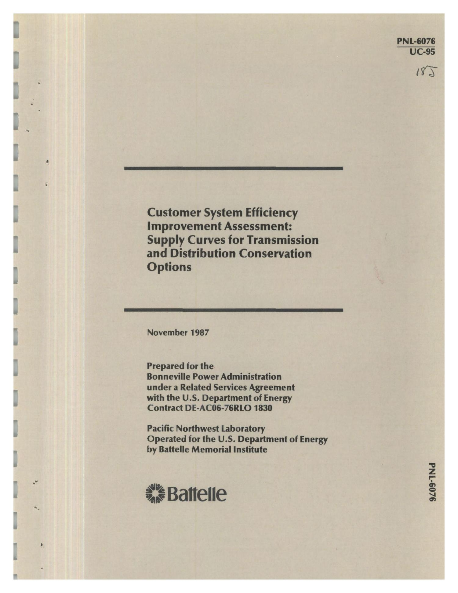 Customer system efficiency improvement assessment: Supply curves for transmission and distribution conservation options                                                                                                      [Sequence #]: 1 of 93