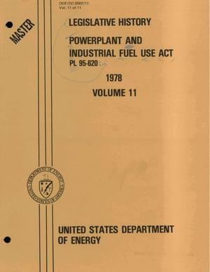 Primary view of object titled 'Powerplant and Industrial Fuel Use Act, PL 95-620: legislative history, 1978'.