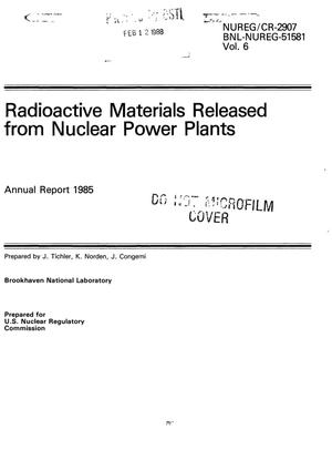 Primary view of object titled 'Radioactive materials released from nuclear power plants: Annual report, 1985'.