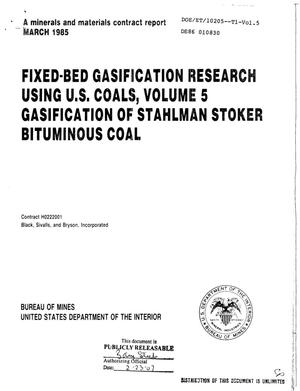 Primary view of object titled 'Fixed-bed gasification research using US coals. Volume 5. Gasification of Stahlman Stoker bituminous coal'.