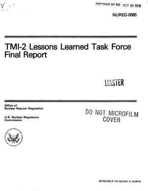 Primary view of object titled 'TMI-2 Lessons Learned Task Force. Final report'.