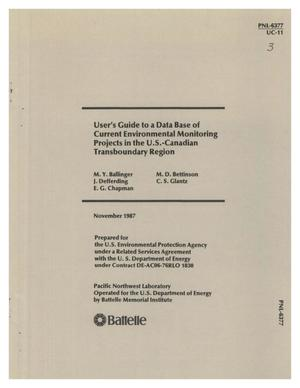 Primary view of object titled 'User's guide to a data base of current environmental monitoring projects in the US-Canadian transboundary region'.