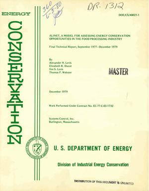 Primary view of object titled 'ALINET: a model for assessing energy conservation opportunities in the food processing industry. Final technical report, September 1977-December 1979'.
