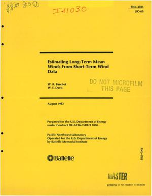 Primary view of object titled 'Estimating long-term mean winds from short-term wind data'.
