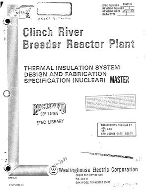 Primary view of object titled 'Thermal insulation system design and fabrication specification (nuclear) for the Clinch River Breeder Reactor plant'.