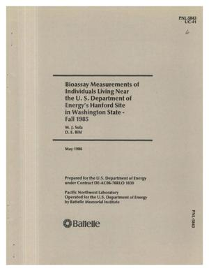 Primary view of object titled 'Bioassay measurements of individuals living near the US Department of Energy's Hanford Site in Washington State, Fall 1985'.