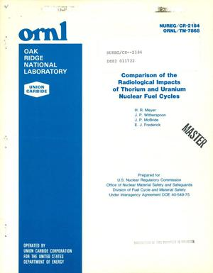 Primary view of object titled 'Comparison of the radiological impacts of thorium and uranium nuclear fuel cycles'.