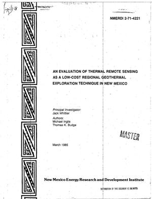 Primary view of object titled 'Evaluation of thermal remote sensing as a low-cost regional geothermal exploration technique in New Mexico. Final report'.