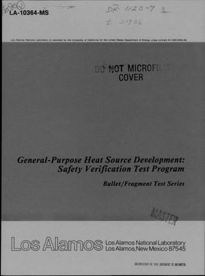 Primary view of object titled 'General-Purpose Heat Source development: Safety Verification Test Program. Bullet/fragment test series'.