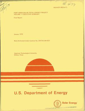 Primary view of object titled 'Fort Hood Solar Total Energy Project. Volume I. Executive summary. Final report'.