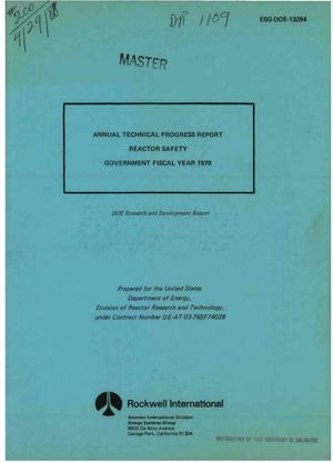 Primary view of object titled 'Reactor safety. Annual technical progress report, Government fiscal year 1979. [LMFBR]'.