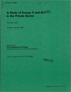 Primary view of object titled 'Study of energy R and D in the private sector'.