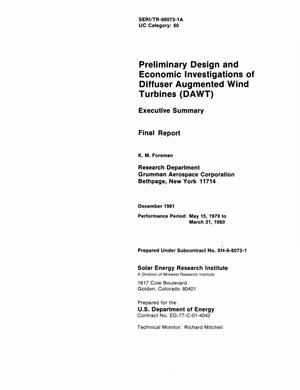 Primary view of object titled 'Preliminary design and economic investigations of diffuser-augmented wind turbines (DAWT). Executive summary. Final report'.