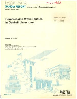 Primary view of object titled 'Compression wave studies in Oakhall limestone'.