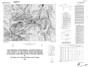 Primary view of object titled 'Map showing geothermal investigations in the vicinity of the Mount Hood Wilderness, Clackamas and Hood River Counties, Oregon'.