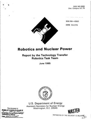 Primary view of object titled 'Robotics and nuclear power. Report by the Technology Transfer Robotics Task Team'.