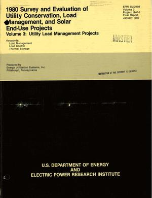 Primary view of object titled '1980 survey and evaluation of utility conservation, load management, and solar end-use projects. Volume 3: utility load management projects. Final report'.