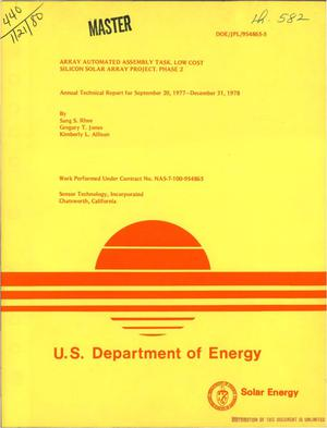 Primary view of object titled 'Array Automated Assembly Task Low Cost Silicon Solar Array Project. Phase 2. Annual technical report, September 20, 1977-December 31, 1978'.