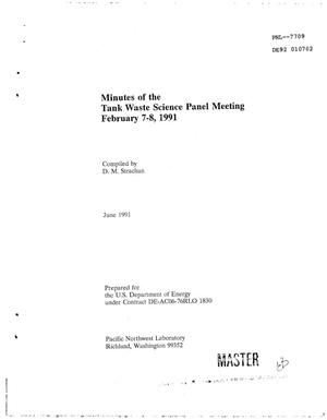 Primary view of object titled 'Hanford Tank Safety Project: Minutes of the Tank Waste Science Panel meeting, February 7--8, 1991'.