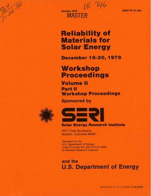 Primary view of object titled 'Reliability of materials for solar energy: workshop proceedings'.
