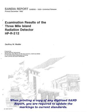 Primary view of object titled 'Examination results of the Three Mile Island radiation detector HP-R-212'.