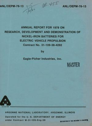 Primary view of object titled 'Research, development, and demonstration of nickel-iron batteries for electric vehicle propulsion. Annual report, 1978'.